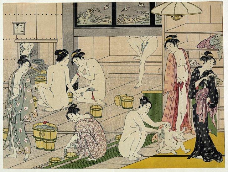 1920px Kiyonaga bathhouse women 2 728x549 - 【生ける伝説】三助とは?江戸時代からの歴史や現在の使い方まで