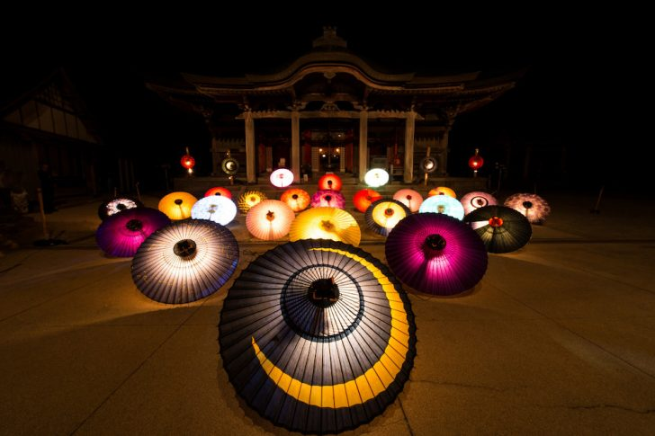 大山寺 和傘灯り